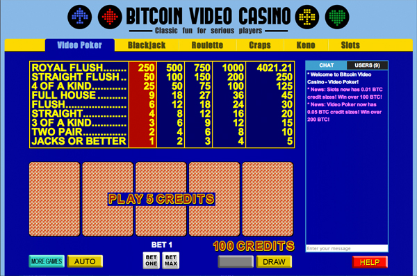 Bitcoin Video Casino website