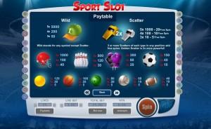Sport slot paytable