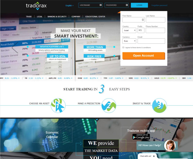 Tradorax Home page