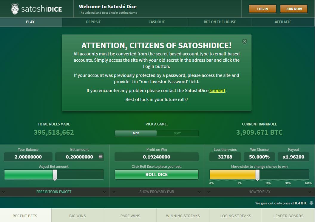Satoshi Dice homepage