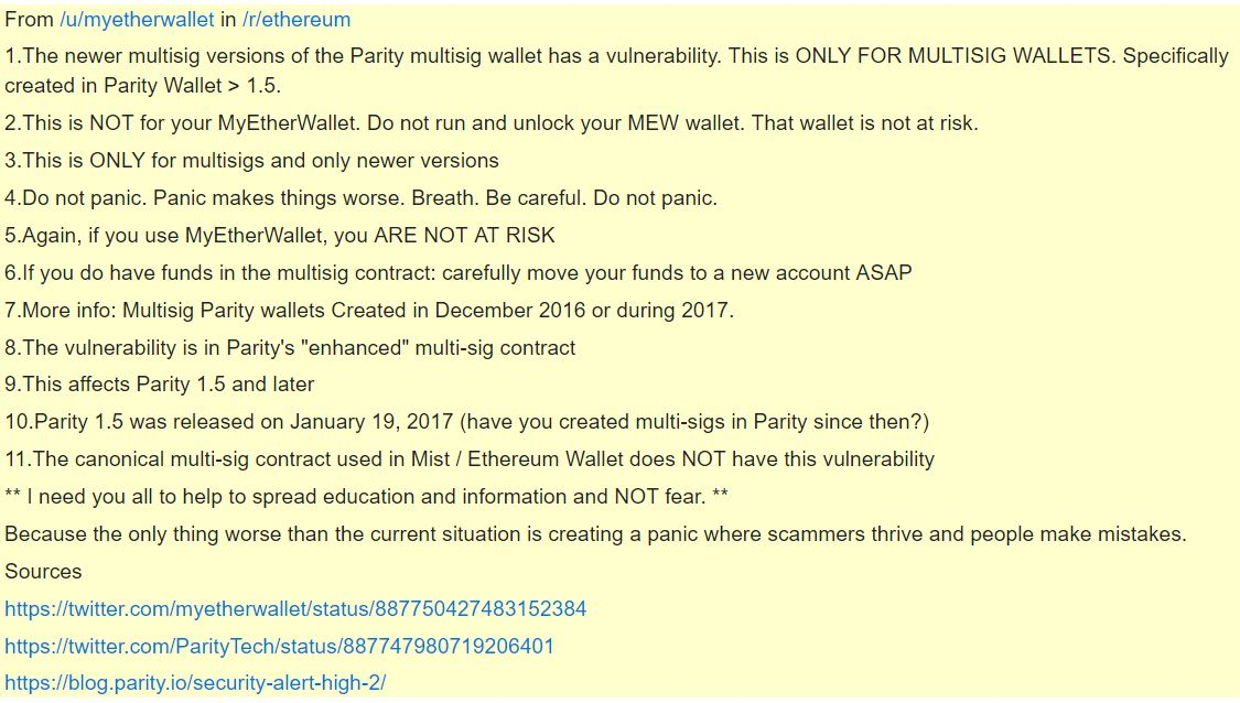 MEW Statement Following Parity Multi-Sig Wallet Hack