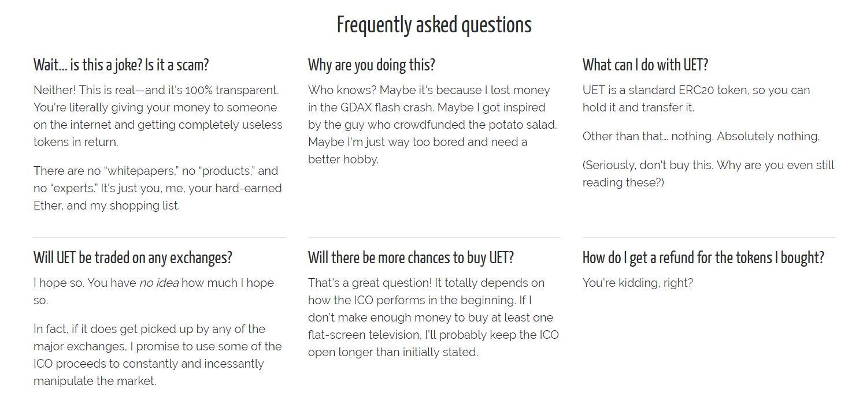 Useless Ethereum Token FAQ