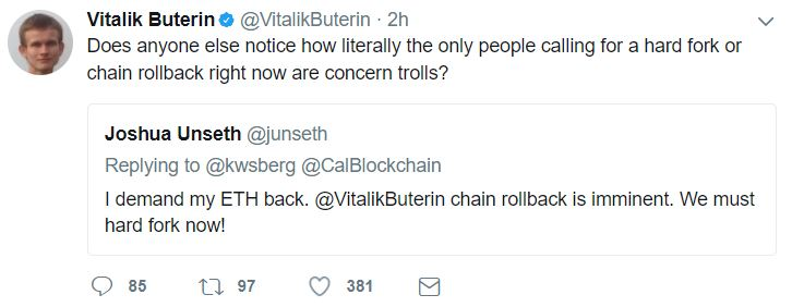 Vitalik Buterin Twitter Response To Parity Multi-Sig Wallet Hack