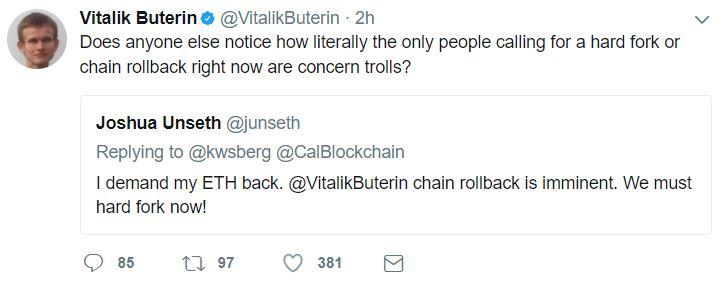 Vitalik Buterin Twitter Response To Parity Multi-Sig Wallet Hack