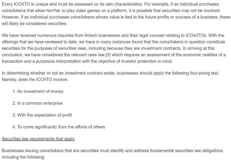 CSA Announcement On ICOs