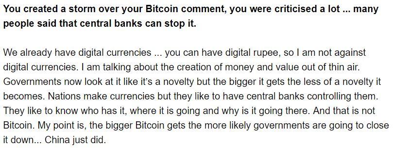 Dimon Belittles Bitcoin On The Economic Times Of India