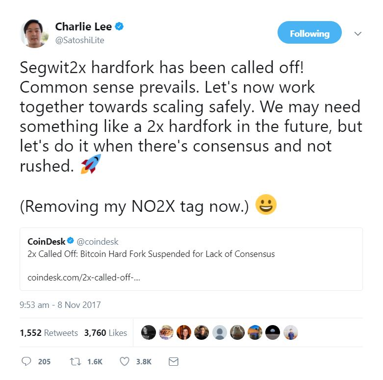 Charlie Lee's Tweet On SegWit2X