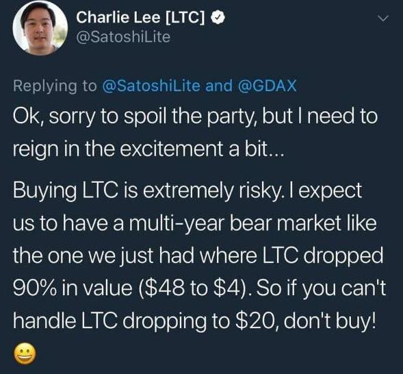 Charlie Lee Warns Litecoin Buyers